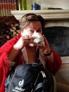 An exhausted Anna enjoys Coca tea