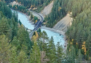 CPR Railway looking down from Highway #1 Kicking Horse Pass
