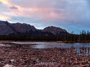 Golden hour Bow Valley River and rocks and Yamnuska, Bow Valley Campground #2
