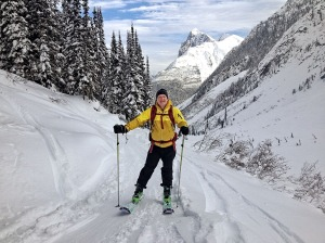 Me skinning up Balu Pass, Rogers Pass- photo courtesy of Mark Klassen