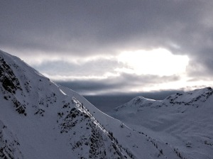 Lookout Col top, Rogers Pass as the sun comes out- photo courtesy of Mark Klassen