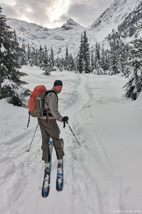 Mark Klassen as we enter the llecillewaet Valley, Rogers Pass