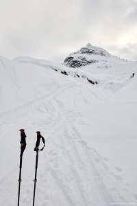 Skinning up towards Lookout Col, Rogers Pass