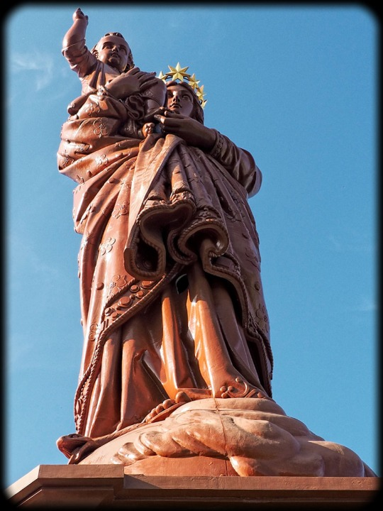 The iron statue of Notre-Dame de France (The Virgin Mary) overlooking the town of Le Puy, close-up