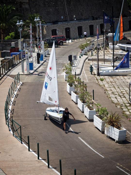 Pier scene sailing school, Ajaccio
