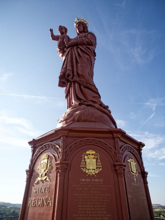 The iron statue of Notre-Dame de France (The Virgin Mary) overlooking the town of Le Puy, another view
