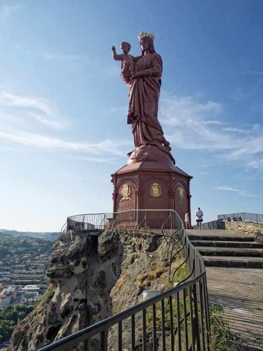 The iron statue of Notre-Dame de France (The Virgin Mary) overlooking the town of Le Puy, yet another view