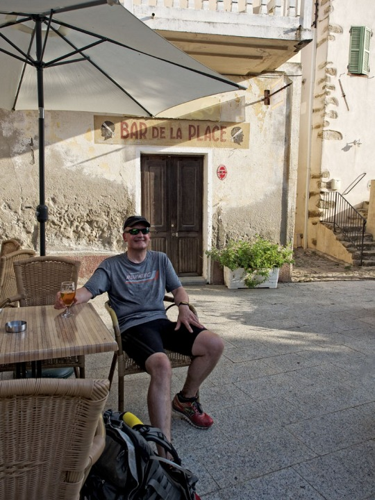 The best part of the hike- enjoying a beer afterwards- near Calvi