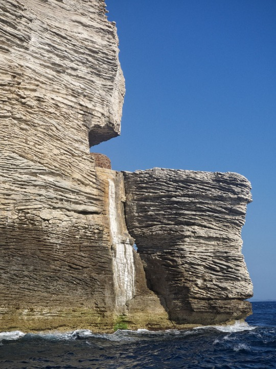 Rock cliffs near Bonifacio while sailing