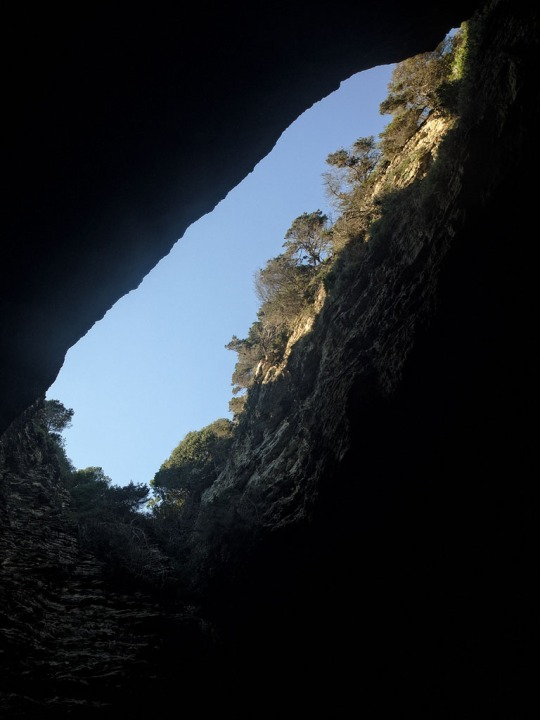 Hole in top of cave we travelled into that looks like Corsica