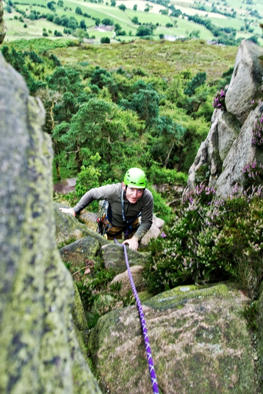 Richard climbing, The Roaches England