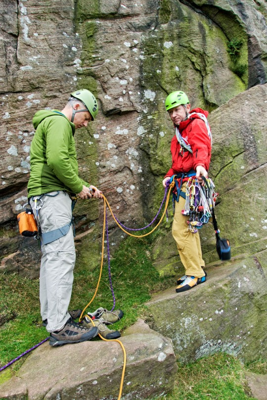 Richard and Dave preparing to climb, The Roaches England
