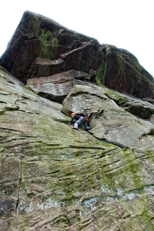 Steve climbing, The Roaches England