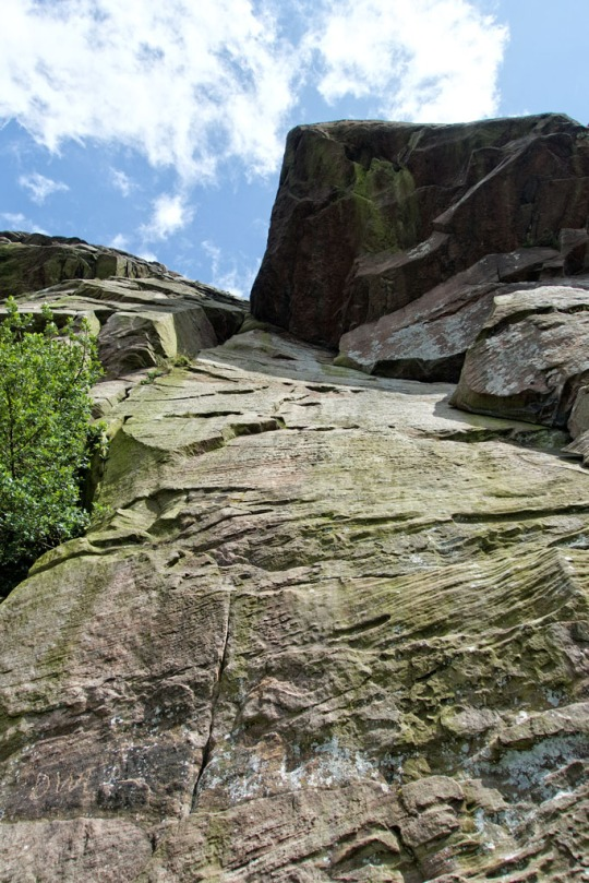 Looking up one of our climbing pitches just to give perspective, The Roaches England
