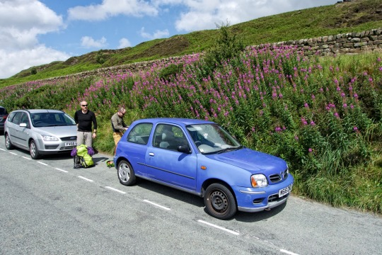 Our trusty vehicle, an old Nissan Micra (Richard's mother's car)- The Roaches, England