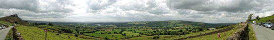 Panorama, looking out from the trailhead of the The Roaches, England