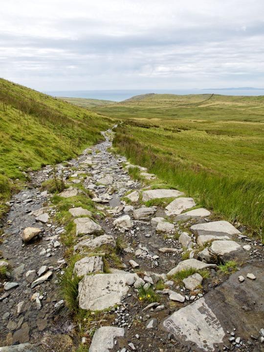 Rocky stone path, hike Wales
