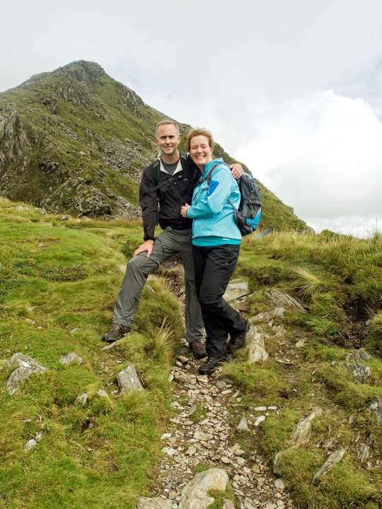 A lovely photo of Mike and Karen as we approach the summit of Cnicht, Wales