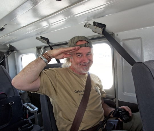 Scotty in Cessna ready to safari- flying to Savuti, Botswana
