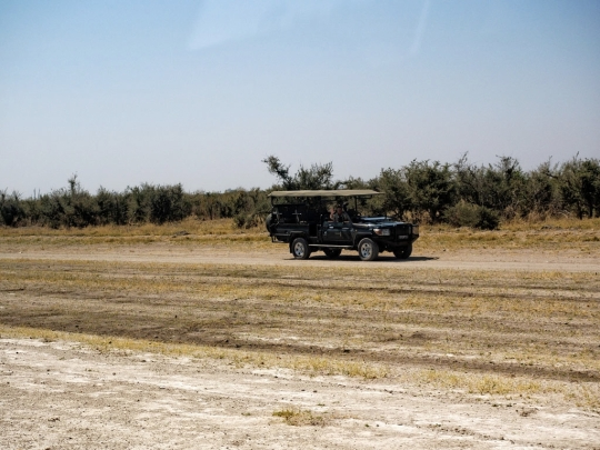 Brian Gibson greeting us as we land- dirt strip Savuti, Botswana