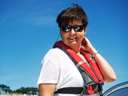 Teresa, newly appointed captain, looking radiant on Nick's rib