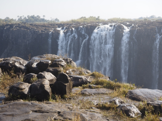 Stone and Victoria Falls, Zimbabwe Africa