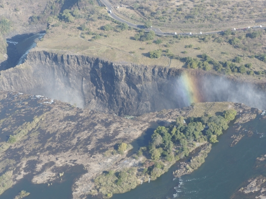 Aerial view with rainbow- Victoria Falls, Zimbabwe Africa